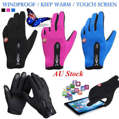 AU Touch Screen Thermal Driving Gloves Waterproof Bike Motorcycle Cycling Riding