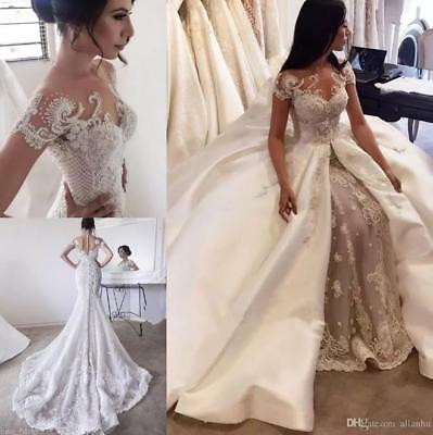 Luxury Wedding Dress Detachable Train Champagne Beads Mermaid Bridal