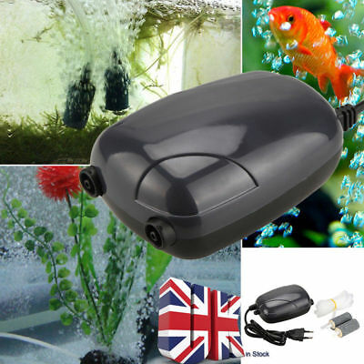 Silent Energy Efficient Double Hole Aquarium Fish Tank Oxygen Air Pump UK