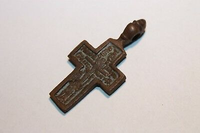 Ancient Russian Bronze Cross! XVII-XVIII Century! (D413)