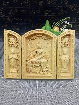 China Collectable Handmade Carving Boxwood Bow Down Efficacy Bodhisattva Statue#