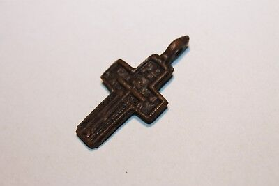 Ancient Russian Bronze Cross! XVII-XVIII Century! (D414)