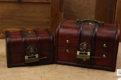 Vintage Small Jewelry Storage Treasure Chest Handmade Wood Box Case lock 2 in 1