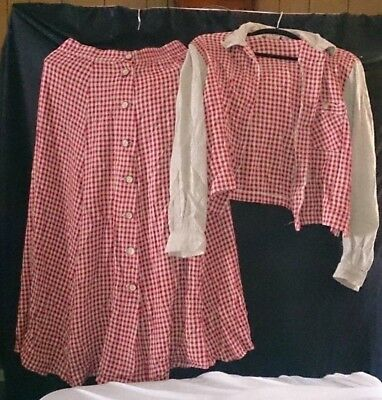 Vintage 1970's Gingham skirt & matching jacket, made in USA, sz. M, rayon