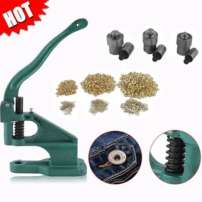 "Grommet Machine 3 Die 1/4"" 3/8"" 1/2"" 900 Grommets Eyelet Hand Press Tool MAX"