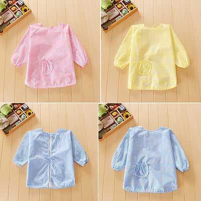 Lovely Baby Boy Girl Toddler Kids Waterproof Long Sleeve Bib Art Apron Smock Pro