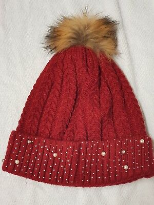 Ladies Black, Red, Silver/Grey Bobble Fur-Pompom Hat with White Pearls