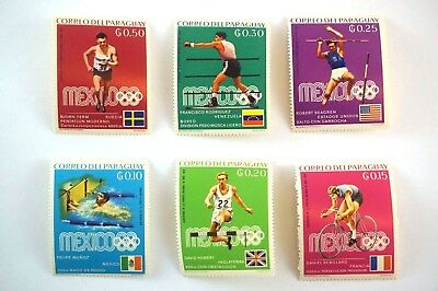 Stamps Correo Del Paraguay Mexico Olympic Mint Full Shiny Gum set of 6 Vintage