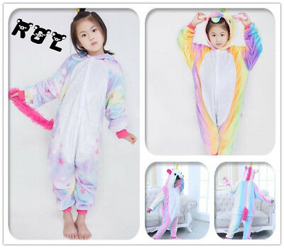 Kids rainbow Unicorn Onesie1 Kigurumi Animal Cosplay Costume Pajamas Sleepwear