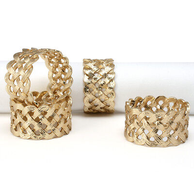 NEW L'objet Braid Gold Napkin Ring Set 4pce