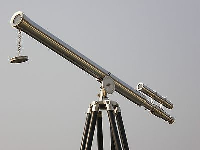 MARINE NAVY Nautical Vintage HM472 Telescope Barrel Brown Wooden Tripod
