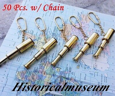 Vintage Brass Nautical Telescope Keychain Lot 50 Pcs HM448 Keyring