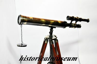 Collectible Nautical Solid Brass Double Barrel Hm918 Telescope W/ Tripod Stand@