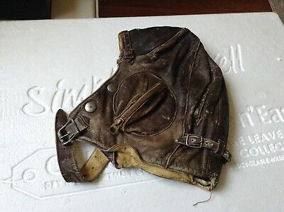 Australian STAGGS Brown Distressed Leather Aviation Pilots Flying Helmet