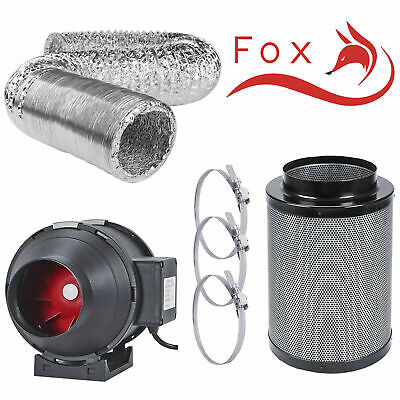 """Hydroponics Carbon Filter Extractor Fan Kit Set 4 5 6 8 10"""" Inch + 5m Ducting UK"""