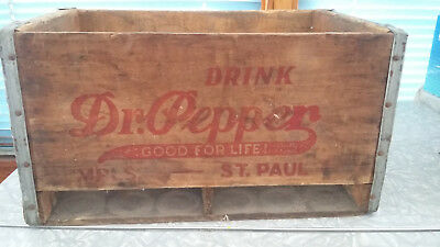 """Drink Dr. Pepper Good For Life Wooden Box Mpls.-St. Paul 8 3/4"""" X 16 """" X 10 1/2"""""""