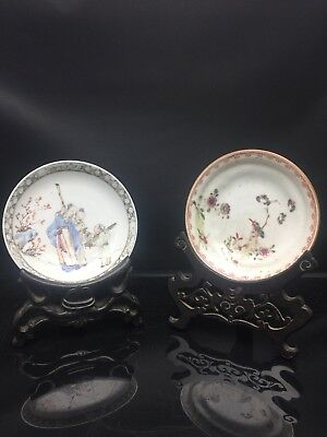 2 X Antique Chinese Families Rose Sauce 18/19th Century