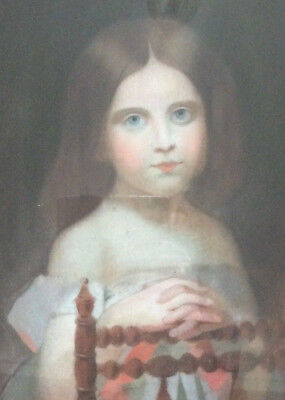 Mid 19th Century French Pastel Portrait of Young Girl, Framed