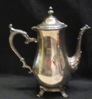 "Vintage Wm (William) Rogers 800 Silver plate teapot coffee pot 10 1/2"" tall"