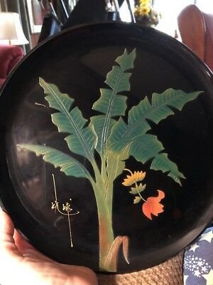 Black Lacquer Plate Banana Leaves And Flower Hand Carved And Painted