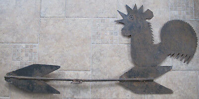 "Very Large 44"" Antique Primitive Folk Art Metal Rooster Weathervane"