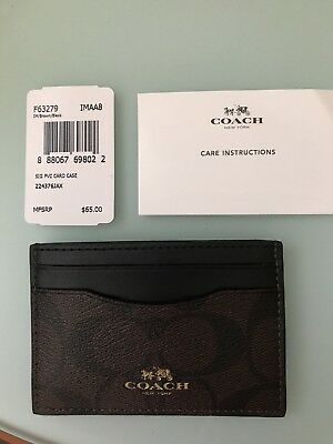 NWT! Coach Signature Brown / Black PVC Leather Card Case Wallet F63279