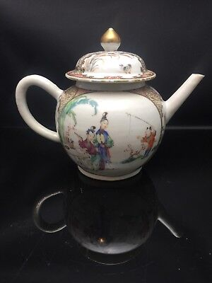 Antique Chinese/Cantonese Families Rose Teapot 18th Century Qing Dynasty
