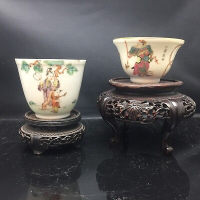 2 X Antique Chinese Families Rose Tea Cups 18/19th Century