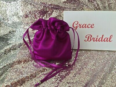 VIOLET SATIN DOLLY BAG BRIDAL BRIDESMAID PROM FLOWER GIRL BNIP **free samples**