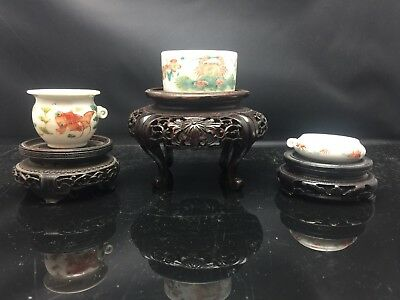 3 X Antique Chinese Families Rose Small Pot 19th Century