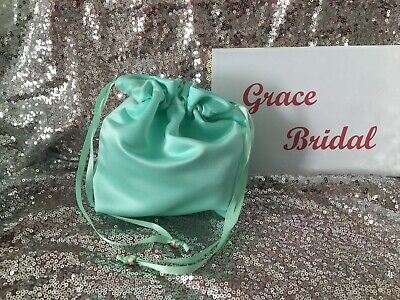 PEPPERMINT SATIN DOLLY BAG BRIDAL BRIDESMAID FLOWER GIRL BNIP **free samples**