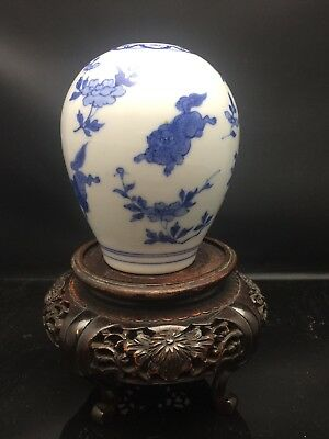 Rare Antique Chinese Blue And White Small Pot 19th Century