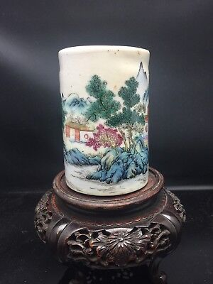 Antique Chinese Families Rose Brush Pot 18/19th Century Signed
