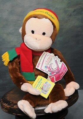 "26"" MACYS TALKING CURIOUS GEORGE MONKEY PLUSH STUFFED SOFT TOY BOOK SOUNDS Mint"