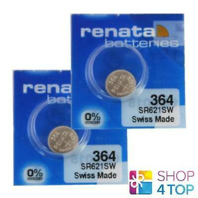 2 Renata 364 Sr621Sw Batteries Silver 1.55V Watch Swiss Made Exp 2022 New