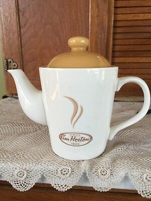 "Tim Hortons Limited Edition Coffee/ Tea Pot & Lid~ 2 Cup~6 3/4"" high New!"