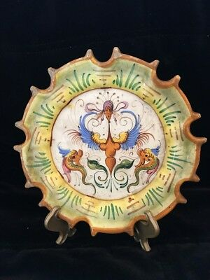 Rare Cantagalli Faience Plate Signed Italian Scalloped Numbered Plate