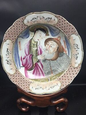 Unusual Antique Chinese/Cantonese Families Rose Plate 18th Century