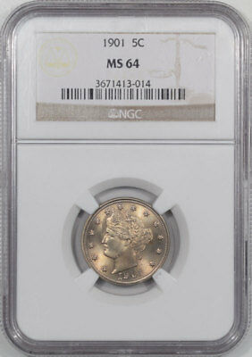 1901 Liberty Nickel Ngc Ms-64. Another Coin From The Reeded Edge!