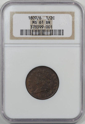1809/6 Classic Head Half Cent Ngc Ms-61 Bn.  Another Coin From The Reeded Edge!