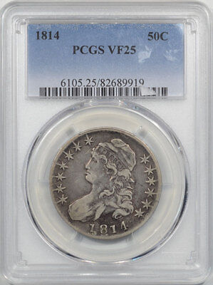 1814 Capped Bust Half Dollar Pcgs Vf-25. Another Coin From The Reeded Edge!