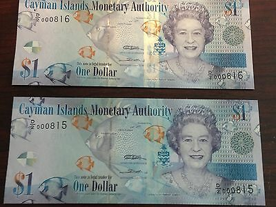 2 Cayman Isl. 1 Dollar Banknotes 2010 Series Uncirculated With 3 Digit Serial #