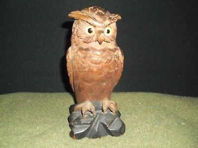 Antique Inkwell Carved WOODEN OWL FIGURE With Glass Eyes 19th Century