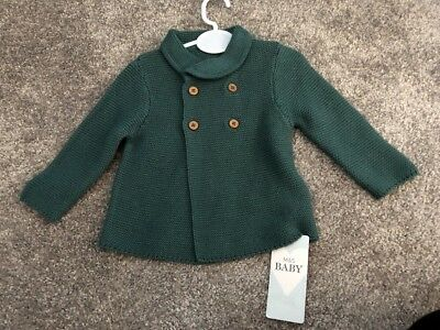 BNWT M&S Teal Knitted Cardigan 0-3 Months