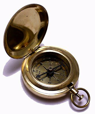 Classic Pocket Antique Brass Compass American Boy Scout Vintage Collectible Gift
