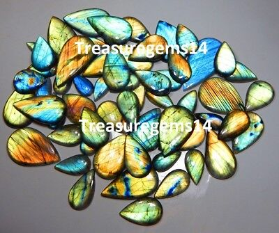 500 Ct 100% Natural Wholesale Lot Multi Fire Labradorite Pear Cabochon Gemstones