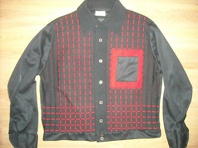 VTG 50S 60S Mens XL RED BLACK GAMA Rockabilly Button Stripe LONG SLEEVE SHIRT