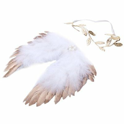 Angel Feather Wings Hair Baby Girl Boy Newborn Band Photography Props - Gold