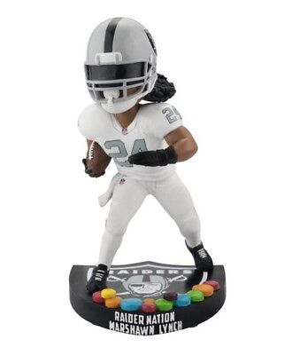 "MARSHAWN LYNCH ""Skittles"" Oakland Raiders NFL EXCLUSIVE Logo Base Bobblehead NIB"