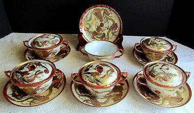 6 Beautiful Antique Hand Painted Gold Oriental Dragons Covered Tea Cups Saucers